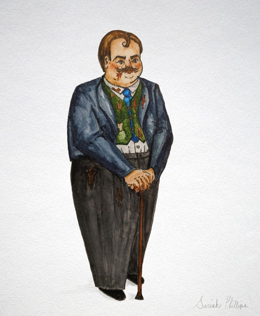 A sensational drawing of Count Rostov, covered in sauce